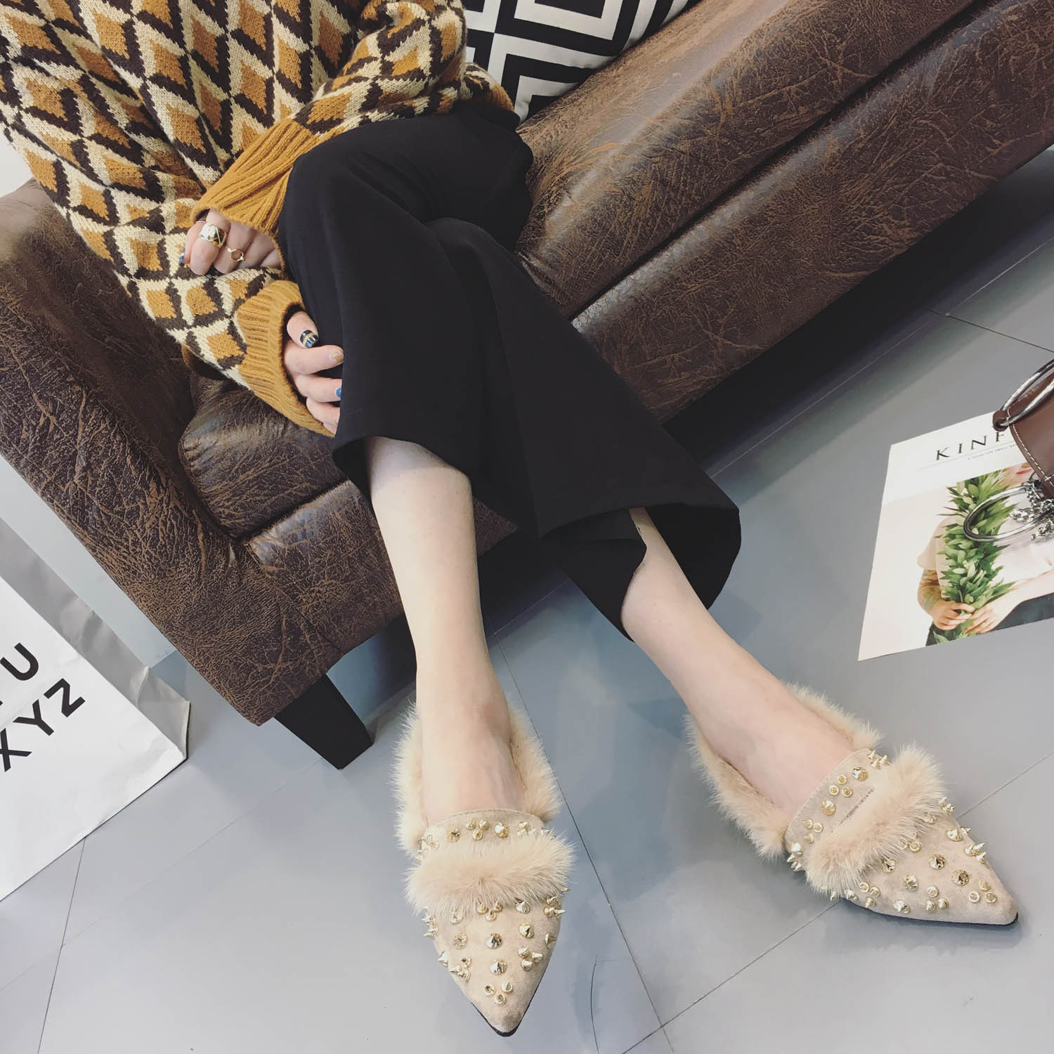 SWYIVY Shoes Flats Woman Fur Slip On Loafers Autumn