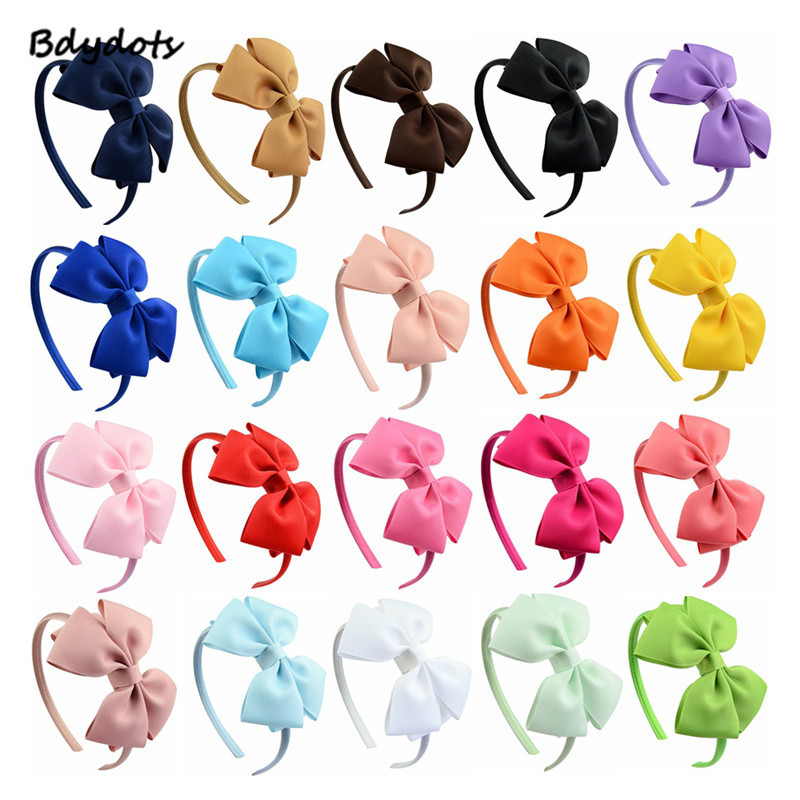20pcs/lot Fashion Multicolorhigh Quality Solid Hairbands Princess Hair Accessories Lady Bowknot Ribbon Hairbands Hair Decor Mother & Kids