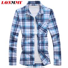 LONMMY M-7XL Plaid shirt men Camisa masculina Brand-clothing Mens dress shirts Casual blouse mens Long sleeves 2017Autumn