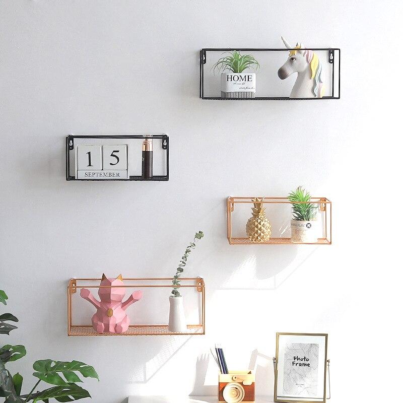 glamorous wrought iron kitchen wall shelves | 1PC Wrought Iron Golden Storage Rack Wall mounted Shelves ...