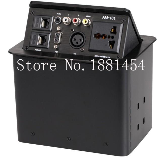 HDMI/VGA Video, audio,USB network/Pneumatic/gas pop up aluminum alloy advanced multimedia desktop gas table hidden socket outlet