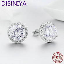 DISINIYA  925 Sterling Silver 4 Carat Round Cut CZ Stud Earrings for Women Halo Bridal Bridesmaid Wedding Jewelry Gift FIE358 peacock star 4 carat dangle earrings solid 925 sterling silver fashion wedding jewelry cfe8013