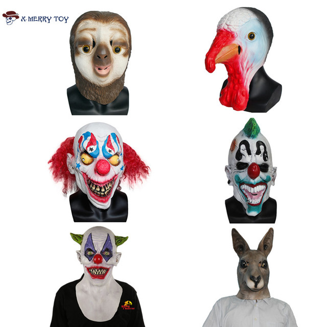 X-Merry Toy Halloween Festive Party Mask For Sale Full Face Carnival Clown Style Mask Latex Animal Mask