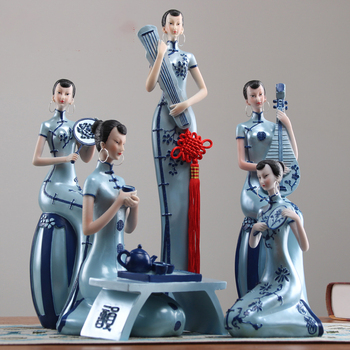 Chinese Ladies Resin Figurines Creative Home Decoration 2