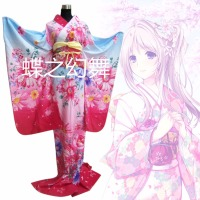 Traditional Japanese Women Floral Gradient Furisode Long Kimono Cosplay Costume