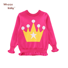 New Autumn Girls Sweater Cartoon Crown Sweaters For Girls 2017 Christmas Gift Infant Tops Warm Knitted Kids Pullover Clothes