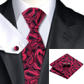 Mens Tie Burdeos Negro Paisley Corbata Para Los Hombres Wedding Party Supplies corbatas Hanky Gemelos Set Negocio C-1155
