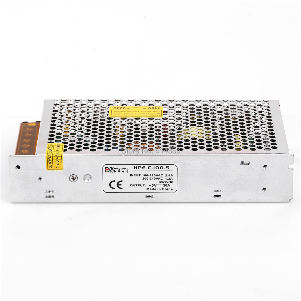 1PCS 100W 5V Power Supply 5V 20A AC-DC 110/230VAC DC5V LED driver  S-100-5 рекламный щит dz 5 1 j1a 230 jndx 1 s a