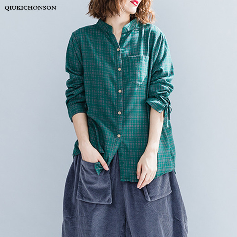 Qiukichonson Spring Autumn Casual Loose Plus Size Tops Ladies Long Cotton Linen Shirts Lace-up Long Sleeve Plaid Shirt Women