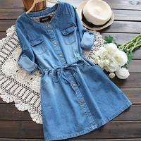 New Blue jeans women Dress Long Sleeved Washed Cowboy Dress Single button Denim Dresses