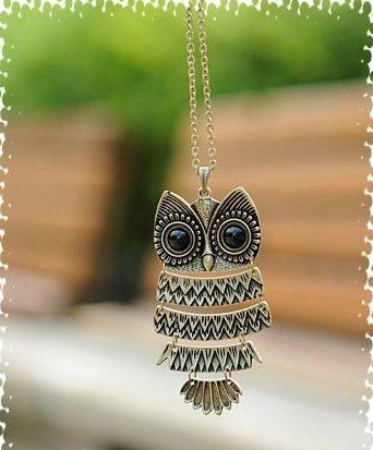 Fashion Necklace Bronze Cute Owl Necklace With Big Eye Pendant Vintage Necklace 2 colors N1