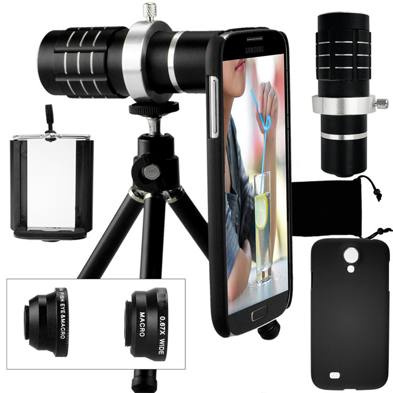 Appareil Photo Kit-12x objectif Zoom + accessoires + Fisheye + 2 in1 objectif Macro & grand Angle + étui pour samsung Galaxy S5 Neo S 6 9 S7 Edge S8 +