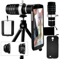 Camera Photo Kit 12x Telephoto Lens Accessories Fisheye 2 In 1 Macro Wide Angle Lens Case