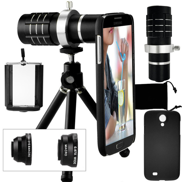 Camera Photo Kit-12x Zoom Lens+Accessories+Fisheye+2 in1 Macro&Wide Angle Lens+Case For Samsung Galaxy S5 Neo S 6 9 S7 Edge S8 +