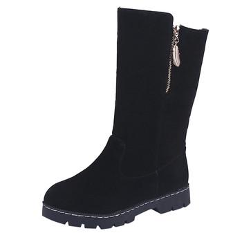 Buty damskie damskie buty zimowe kobieta ciepłe buty na śnieg moda płaskie buty okrągłe Toe klasyczne buty na codzień botas mujer #724 tanie i dobre opinie SAGACE Połowy łydki Płytkie Stałe fashion Dla dorosłych Okrągły Obcasy Podstawowe Płótno Peep toe Wiosna jesień