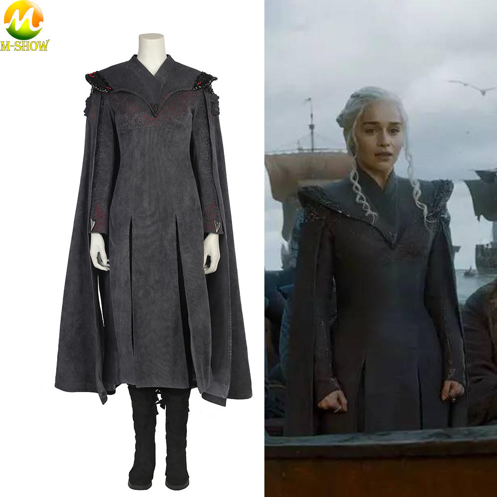 Game of Thrones Season 7 Cosplay Costume Daenerys Targaryen Cosplay Costumes Dress Cloak Boots For Halloween Women