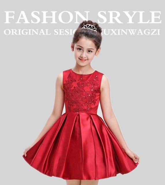 Elegante Rote Satin Kinder Hochzeit Kleid Für Teenager Sleeveless ...