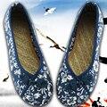 Холст Квартиры Размер (35-40) Женщины Китайский Льна Обувь Стиль Нация Удобная Мягкая Подошва Женщин Вышивка Танец обувь 2016 ручной работы