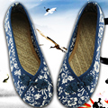 canvas Flats Size(35-40) Women Chinese Flax Shoes Style Nation Comfortable Soft Sole Women Embroidery Dance Shoes 2016 handmade