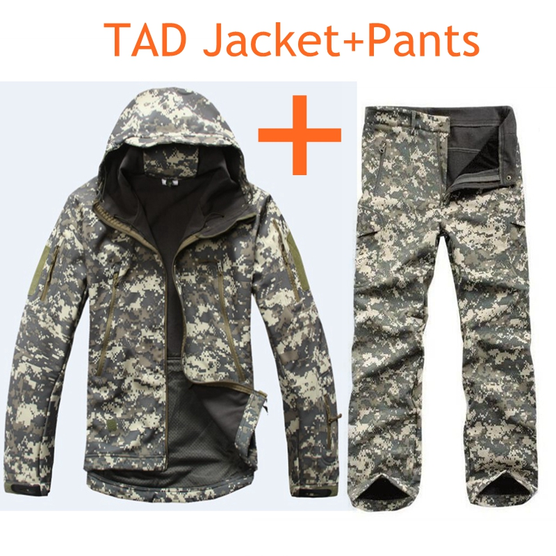 TAD Gear Tactical Soft Shell Camouflage Men Jacket Set Men Army Waterproof Clothes Set Military Jacket + Pants