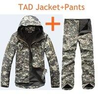 Tactical Soft Shell TAD Biegów Kamuflażu Mężczyźni Kurtka Zestaw Mężczyźni Armia Wodoodporne Ubrania Zestaw Wojskowa Kurtka + Spodnie