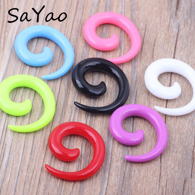 16pieces Set Mix Sizes Ear Expander Spiral Flesh Tunnel Earring Carved Snail Taper