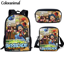 Coloranimal Hot Sale 3pcs/set Backpack Boy Girl Anime Beyblade Burst Evolution School Bag Student Mochila Schoolbag Bags