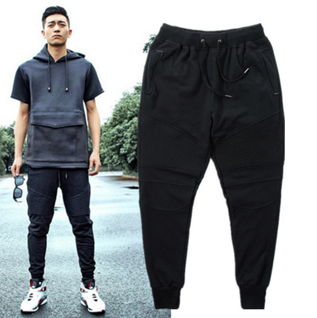 Corredores de moda Motociclista Slim Fit Skinny Sweatpants Harem Pants Homem Roupas Roupas de Hip Hop Dos Ganhos Dos Homens Calça Preta Cinza