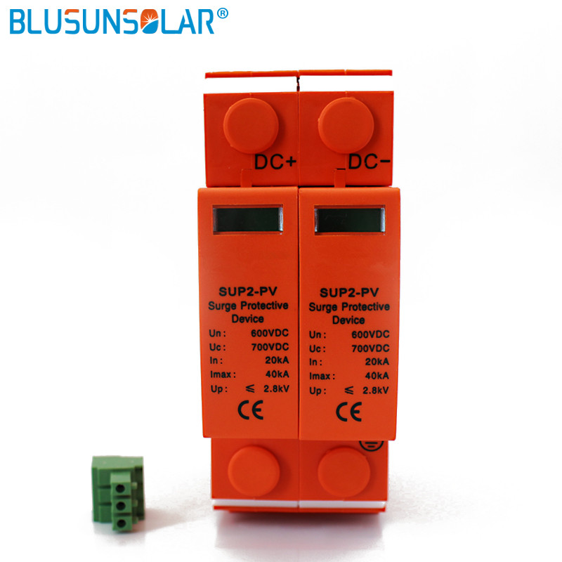 20pcs High Performance 2P DC 500V/600V SUP4-S40 SPD 20/40KA DC Surge Suppressors/ DC Surge Protector for Solar System Protection towe ap c40 pv600 pv systems 600v dc system power class c protection 4 modulus imax 40ka up 2 2v thunder protector