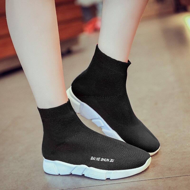 41 Femmes Plus Noir Chaussures Bottes Sur Cheville Appartements Taille Dames La Chaussettes Slip Casual 40 Dropshipping BvrqBZw6xH