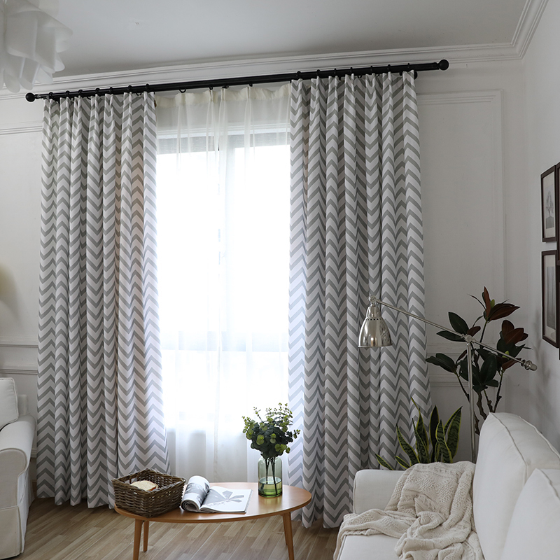 Blackout Curtains For Living Room Bedroom Semi Curtain Waves Stripes Window Treatment Blinds Grey Pink Yellow D