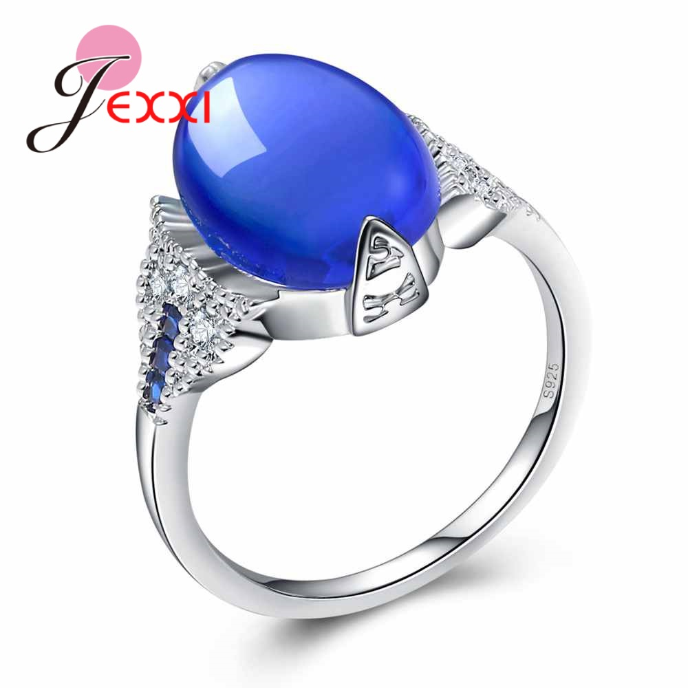 JEXXI Trendy Cat Eye Stone Rings For Women Wedding Jewelry S925 Stamped Sterling Silver Engagement Proposal Finger Ring Female