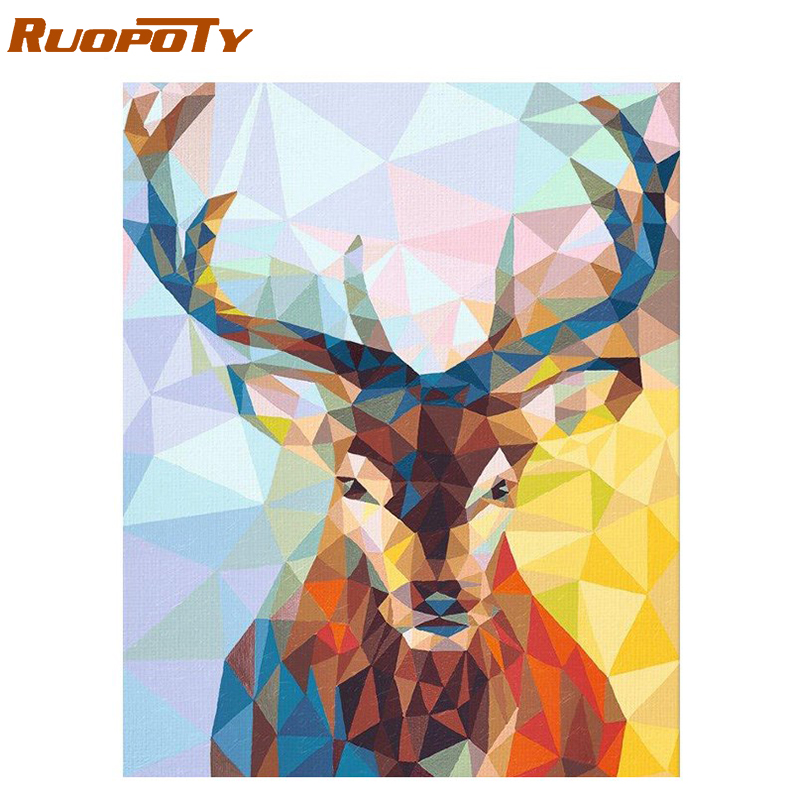 RUOPOTY Frame Deer Animals Diy Painting By Numbers Acrylic Paint On Canvas Modern Home Wall Art Picture Calligraphy Painting