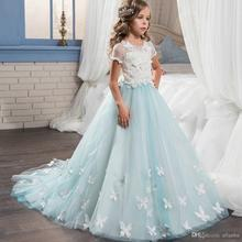 Princess 2017 Lace Tulle Flower Girls Dresses for Weddings Short Sleeve Baby Girl Party Pageant Gowns First Communion Dress FH32