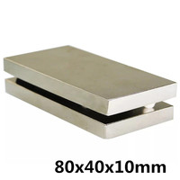 1PCS 80*40*10 block magnets 80x40x10strong n35 rare earth neodymium magnets 80 x 40 x 10 mm free shipping magnet n35