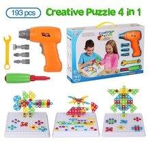 3D Строительные наборы для детей, игрушка, дрель, игра, творческие развивающие игры, мозаика, дизайн, строительные игрушки, набор инструментов для мальчика, 3 года, игрушка