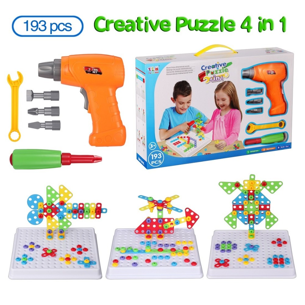 3D Construction Sets For Kids Toy Drill Play Creative Educational Games Mosaic Design Building Toys Tool Set For Boy 3 Years Toy