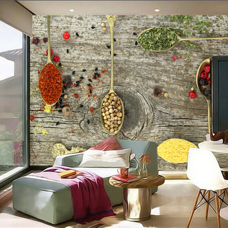 Custom 3D large mural,Spices Spoon Food wallpapers papel de parede ,Restaurant kitchen coffee shop wallpaper lucky john croco spoon big game mission 24гр 004