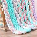 4 strengen Baby Knoop Bed 2 M/3 M Baby Handgemaakte Nodic Knoop Pasgeboren Bed Bumper Lange Geknoopt Gevlochten kussen Baby Bed Bumper Knoop Crib