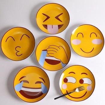 Креативные Круглые Emoji Керамическая Плита Западный Ресторан Милый Пикник Дома Ежедневная Пища Блюдо Кухня Посуда для Детей ZA3567