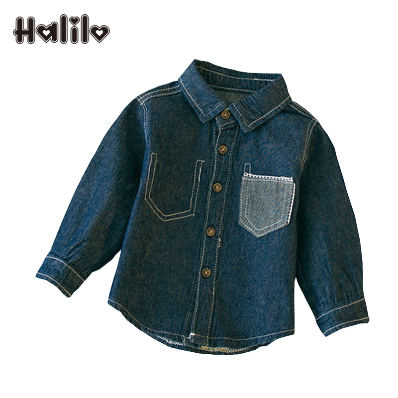 Halilo Baby Girls Tops And Blouses Denim Boys Long Sleeve Shirts Tee Shirt Enfant Baby Girl Blouse Infant Boys Shirt Girls Cloth