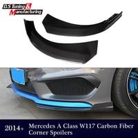 Mercedes CLA W117 2014 2015 Front Bumper Corner Car Canards Splitter Cup Flaps For CLA180 CLA200