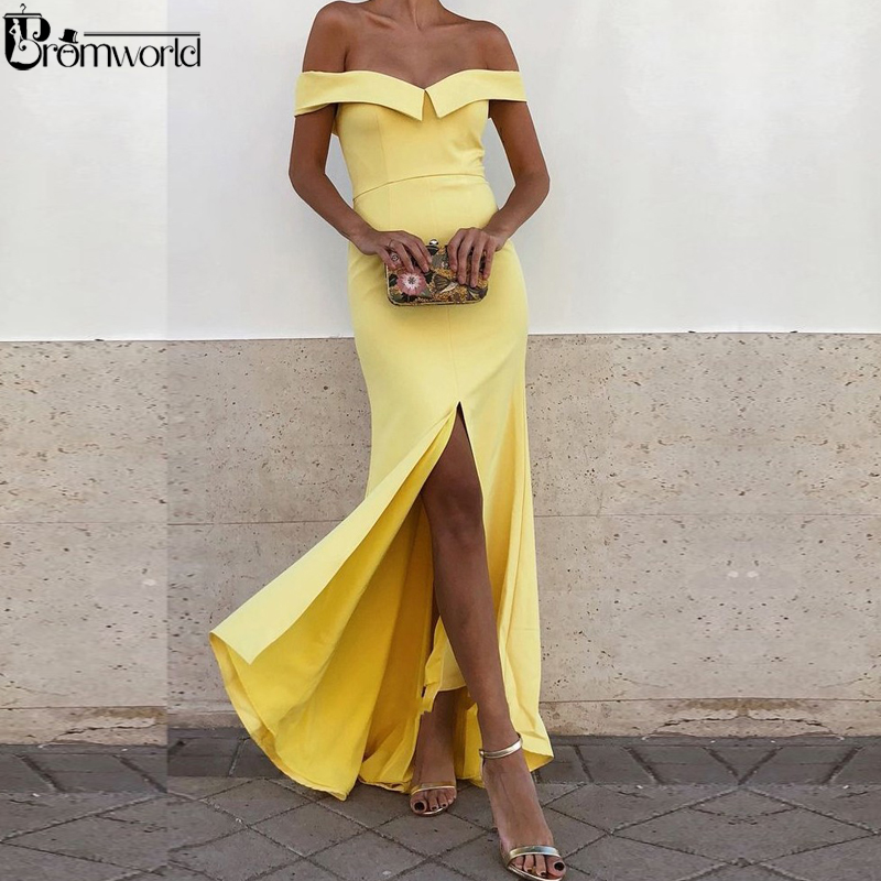 Simple Yellow Prom Dresses 2019 New V-Neck Off the Shoulder Satin Party Maxys Split Long Evening Gown Mermaid Prom Dress