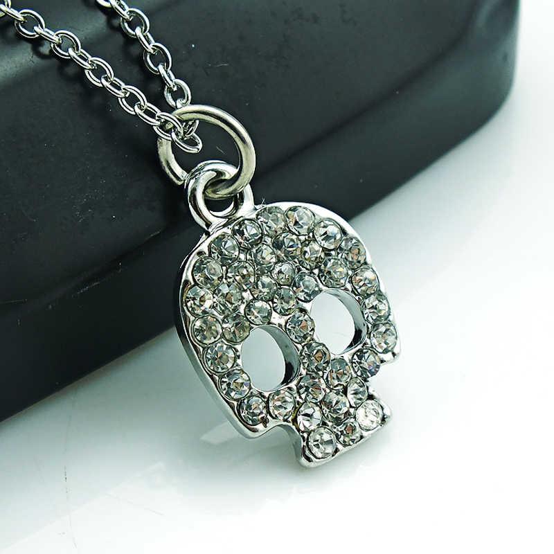Jinglang المعلقات قلادة ربط سلسلة الكلاسيكية الأبيض حجر الراين الجمجمة سحر قلادة للرجال مجوهرات