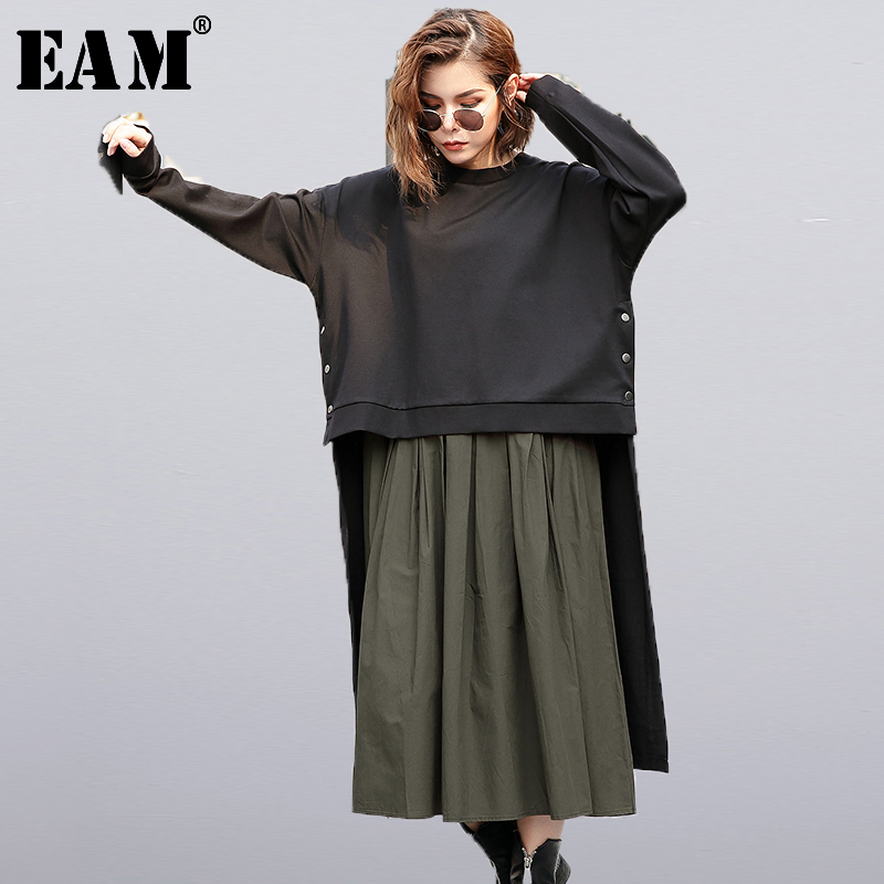 [EAM] 2019 New Autumn Winter  Round Neck Long Sleeve Army Green Solid Color Big Size Two Piece Dress Women Fashion Tide JC9290