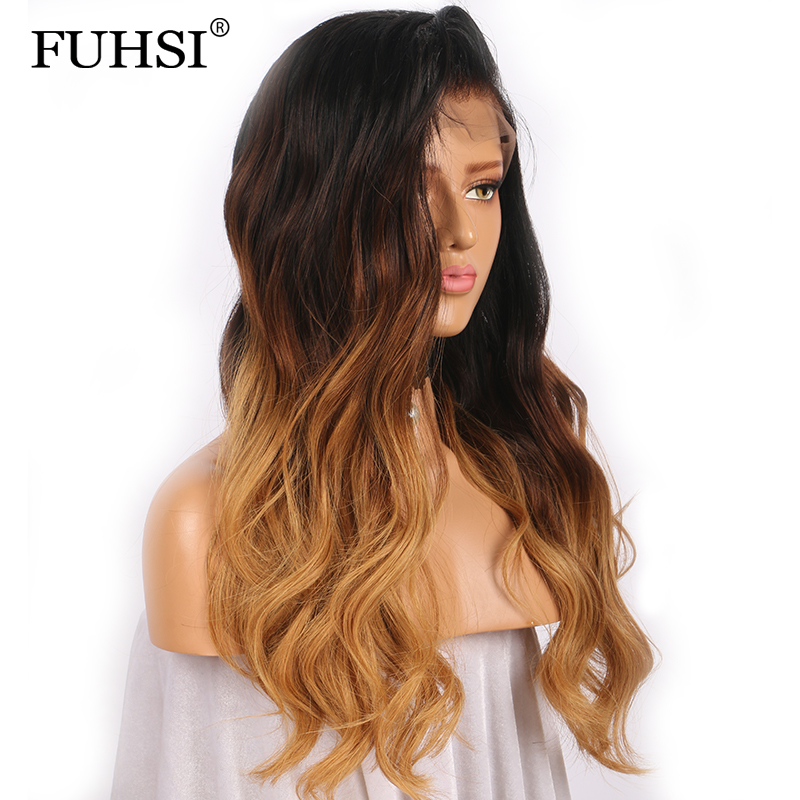 150% Density Full Lace Human Hair Wigs Brazilian Virgin Hair with Baby Hair Pre Plucked Wavy Ombre Human Hair Wig FUHSIHAIR-in Human Hair Lace Wigs from Hair Extensions & Wigs    3