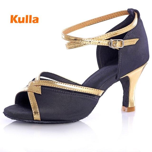 Women Ballroom Latin Modern Dance Shoes Salsa Sandals High Heeled 5 7 Cm