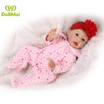 "Reborn baby soft dolls 22""55cm silicone reborn baby doll realistic  new born baby girl with pacifier bottle bebe gift reborn"