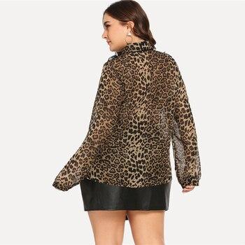 Plus Size Tie Neck Leopard Print Turn-down Collar Thin Blouse