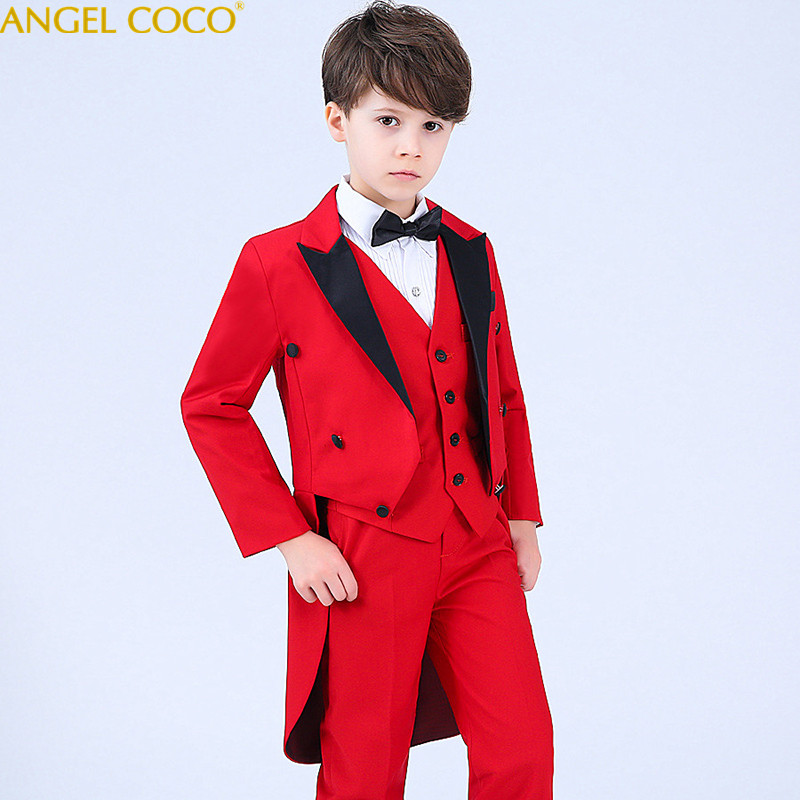 Red High Quality 2018 New Arrival Fashion Baby Boys Kids Blazers Boy Suit For Weddings Prom Formal Dress Wedding Boy Suits high quality 2018 new arrival fashion baby boys kids blazers boy suit for weddings prom formal dark blue dress wedding boy suits